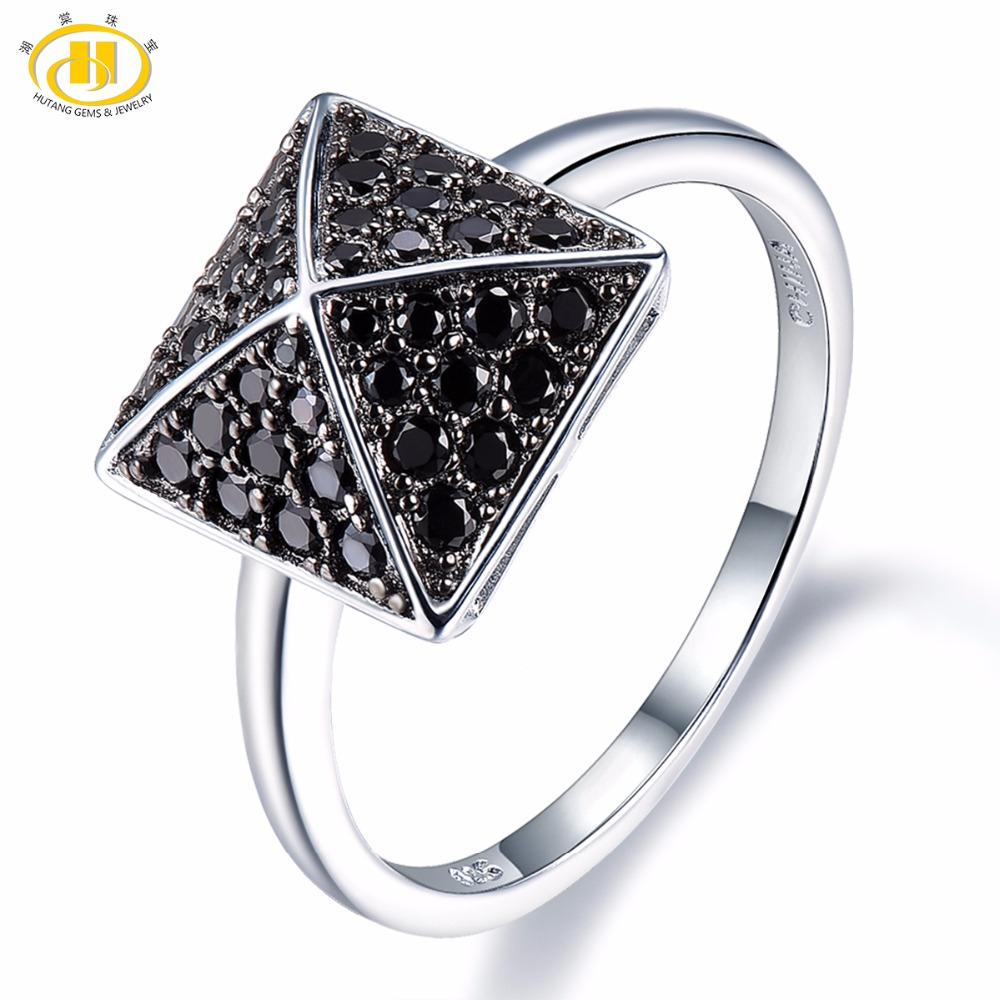 Hutang Stone Jewelry Natural Black Spinel Solid 925 Sterling Silver Pyramid Ring Gemstone Engagement Fine Fashion Jewelry Gift