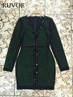 Robe De Soiree Avondfeest Dress Real Foto Groene Lange Mouw Kralen Bodycon Party Gelegenheid Elegante Vrouwen Jurken B-260
