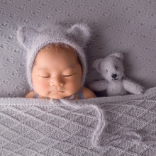 Angora Bonnet Newborn Knit Classic hat and toy set New Born