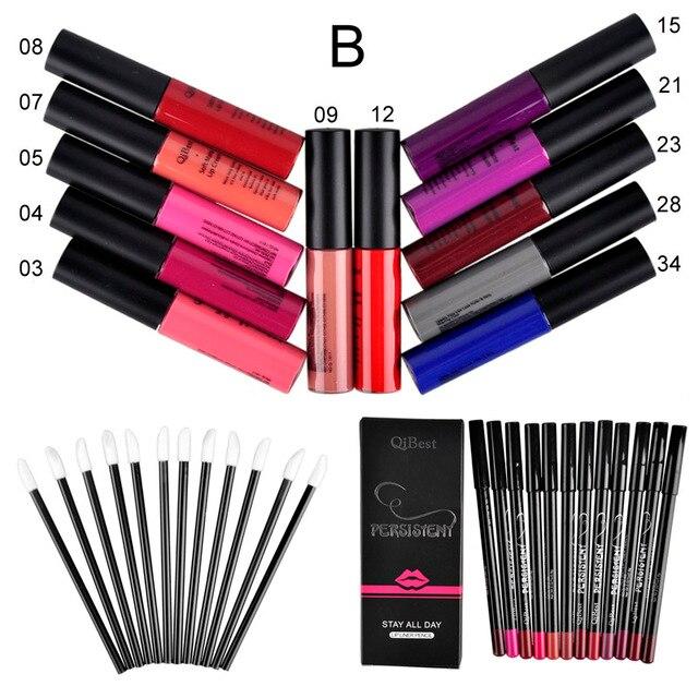 Qibest Makeup Set 12 Colors Lip Gloss + 12 Colors Pencil + 12 Lip Brush Matte Bright Colorful