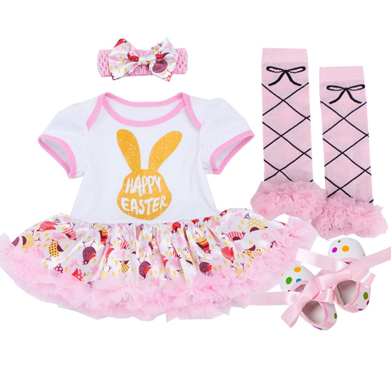 Easter Baby Rompers Baby Girl's Minnie Mickey Dress Bodysuit Lace 4pcs sets 2018 New Born Autumn Bebe Clothing Infant Clothes new baby girl clothing sets infant easter romper tutu dress 2pcs set black girls rompers first birthday costumes festival sets