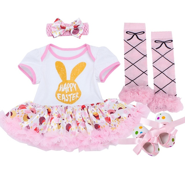 Easter Baby Rompers Baby Girl's Minnie Mickey Dress Bodysuit Lace 4pcs sets 2018 New Born Autumn Bebe Clothing Infant Clothes