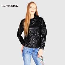 Ladyvostok outono nova moda Preto jaqueta de couro feminina casaco curto PU jaqueta de motoqueiro jaqueta de couro do revestimento do revestimento zipper senhora J7806