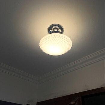 Белое стекло НЛО потолочное освещение в коридоре гостиная балкон потолочный светильник лампа для отеля Прихожая потолочный светильник Ing с...