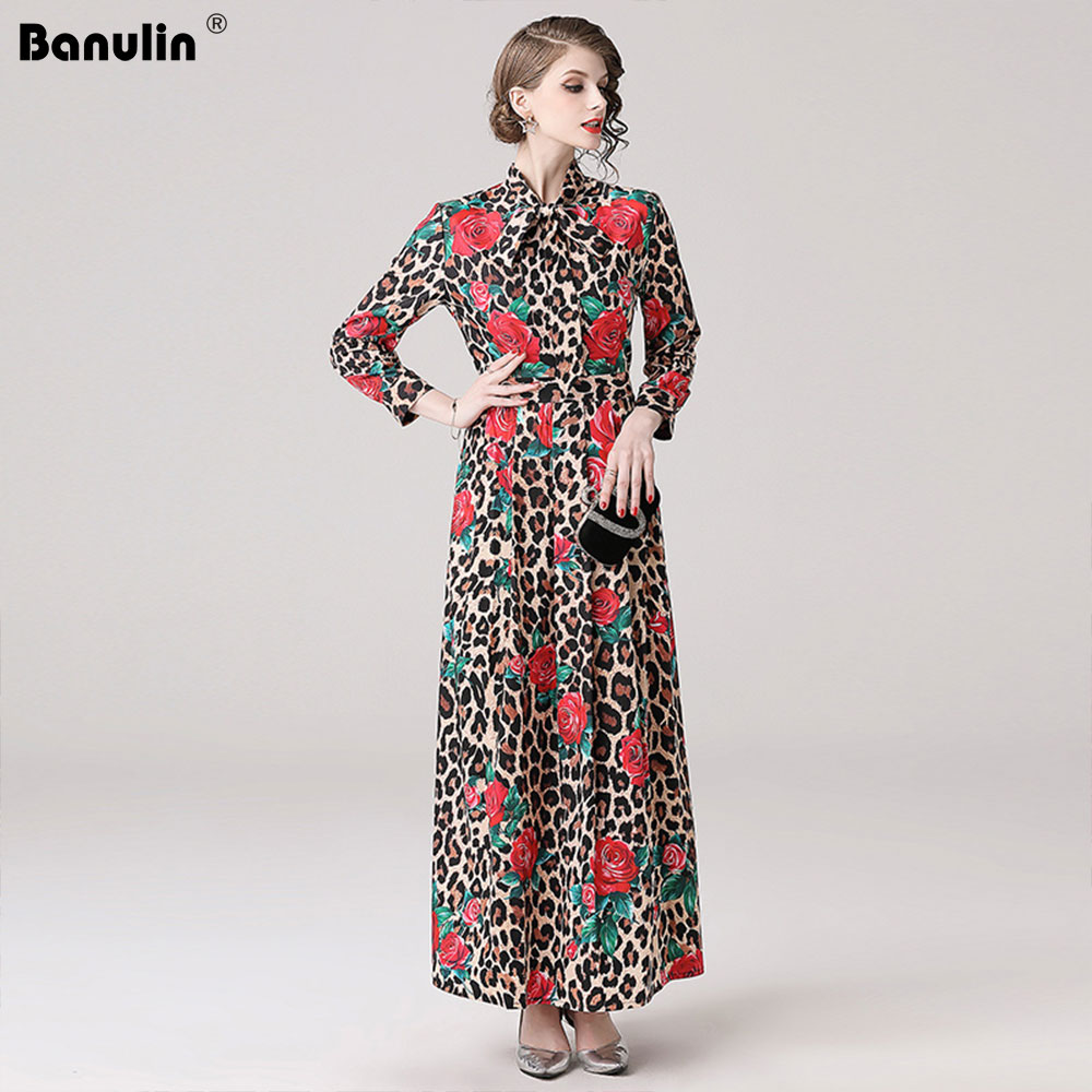 Banulin High Quality 2019 Spring Long Dresses Women s Long Sleeve Red Floral Leopard Printed Vintage