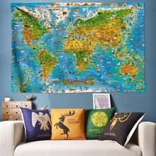 Аниме животные карта мира психоделический гобелен настенный