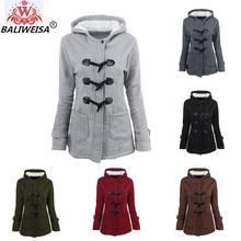 BALIWEISA Winter Coat Women 2017 Casual Hooded Outwear Horn Button Zipper Wool Jacket Women Thick Warm Cotton Long Coat