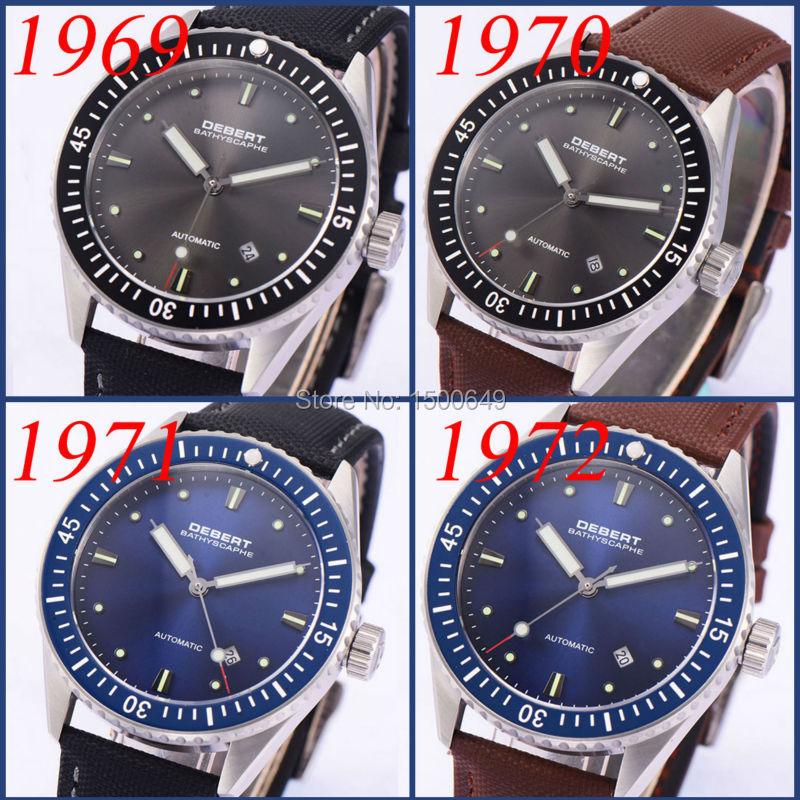 Debert 43mm Wristwatch sapphire glass Automatic Mens watch 1969