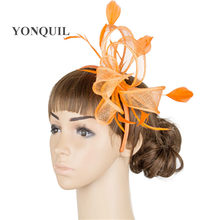 7db538ef Orange or 21 Colors Hot Fashion fancy Flower Feather Fascinator Headband  Hat Wedding Prom Ladies liene