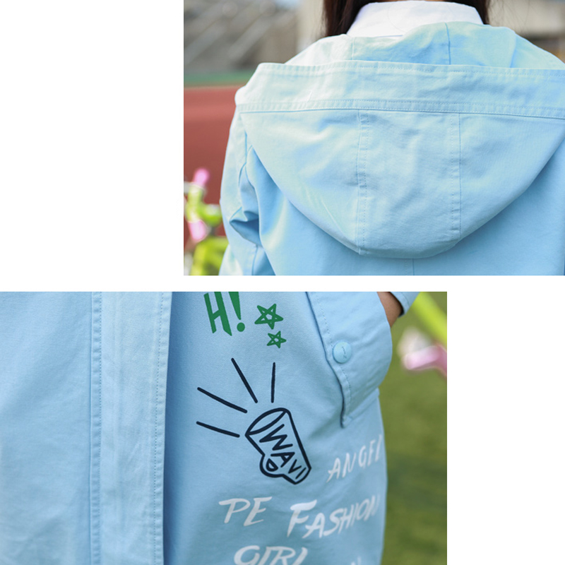 École Mignon Collège color 2017 Imprimer Lettres Veste Capuchon 1 Printemps 2 3 color Femmes Etoiles Zipper À Color V092 Mode Manteaux Kawaii Vestes Style Boutons q7075