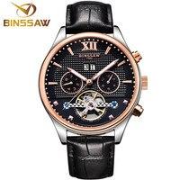 BINSSAW автоматические механические наручные часы мужской турбийон кожа часы лучший бренд класса люкс мужские деловые часы relogio masculino