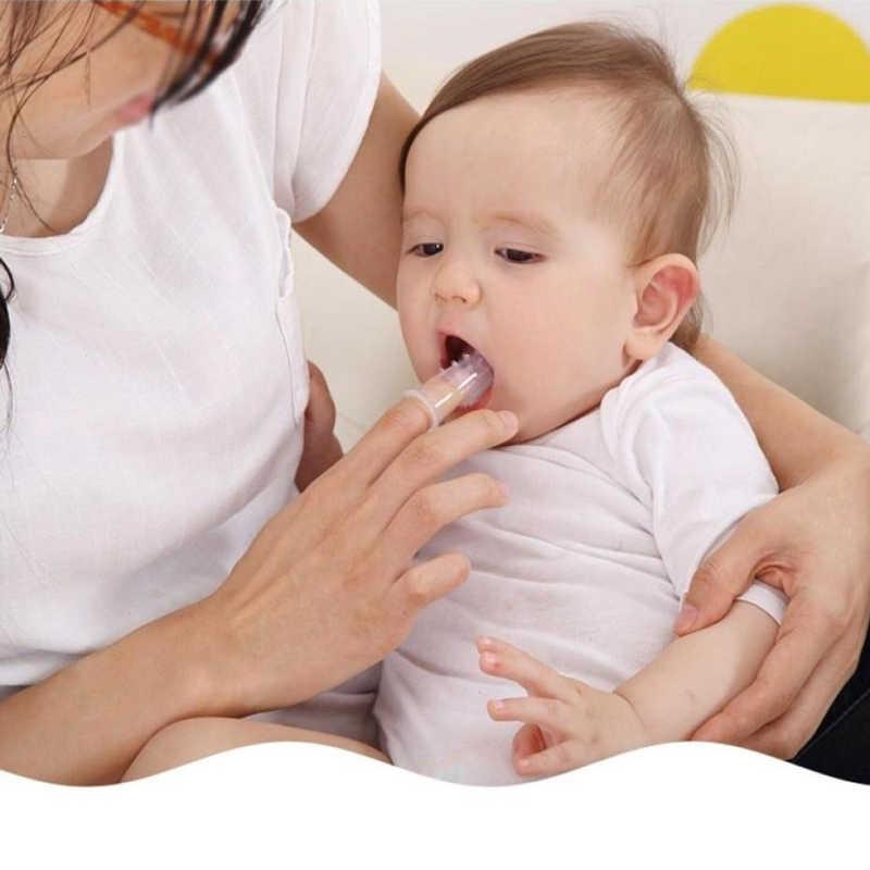 מברשת שיניים + תיבת תינוק אצבע מברשת שיניים ילדי שיניים נקי רך סיליקון תינוקות שן מברשת גומי ניקוי תינוק מברשת