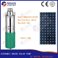 (MODEL 4DQGT2/65 48/500) JINTOP SOLAR BRUSH PUMP max head 65M Lift DC 48v max flow 2T Small Submersible Power Solar Water Pump