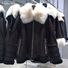 Women's Oversize Genuine Leather Jacket Sheepskin Shearling Coat Lamb Fur Bomber Real Fur Leather Overcoat(China)