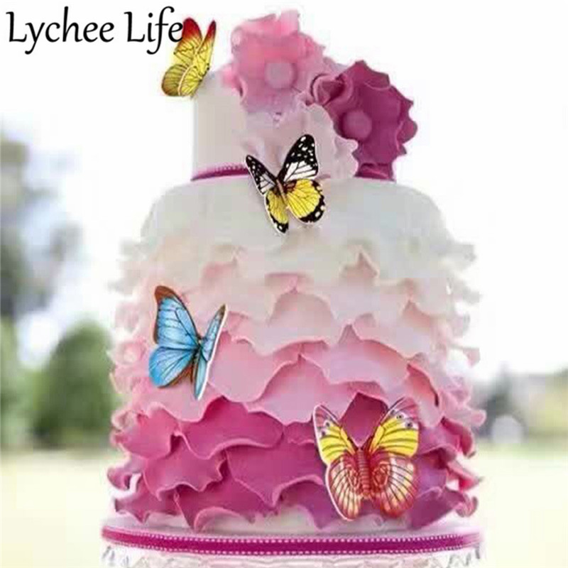 Magnificent Lychee Life Butterfly Edible Glutinous Rice Paper Colorful Cake Funny Birthday Cards Online Inifodamsfinfo