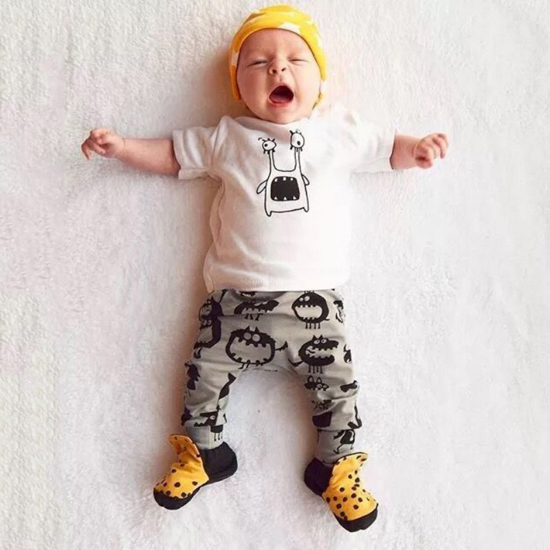 0-24M Toddler Kids Baby Boys Girls Outfits Clothes T-shirt Tops+Pants 2PCS Cotton Sets