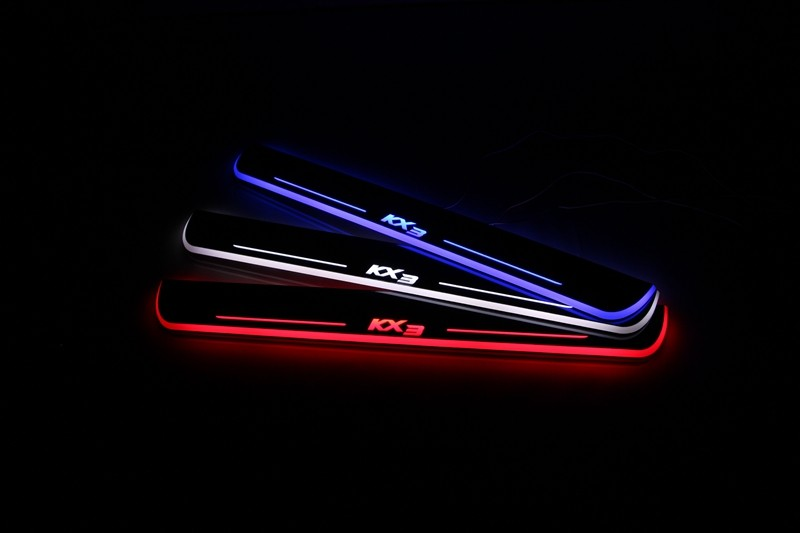 eOsuns LED moving door scuff Nerf Bars & Running Boards door sill plate overlays linings for Kia KX3 2015-2016, moving light free shipping kia sportage 2011 scuff plate door sill new 4pcs
