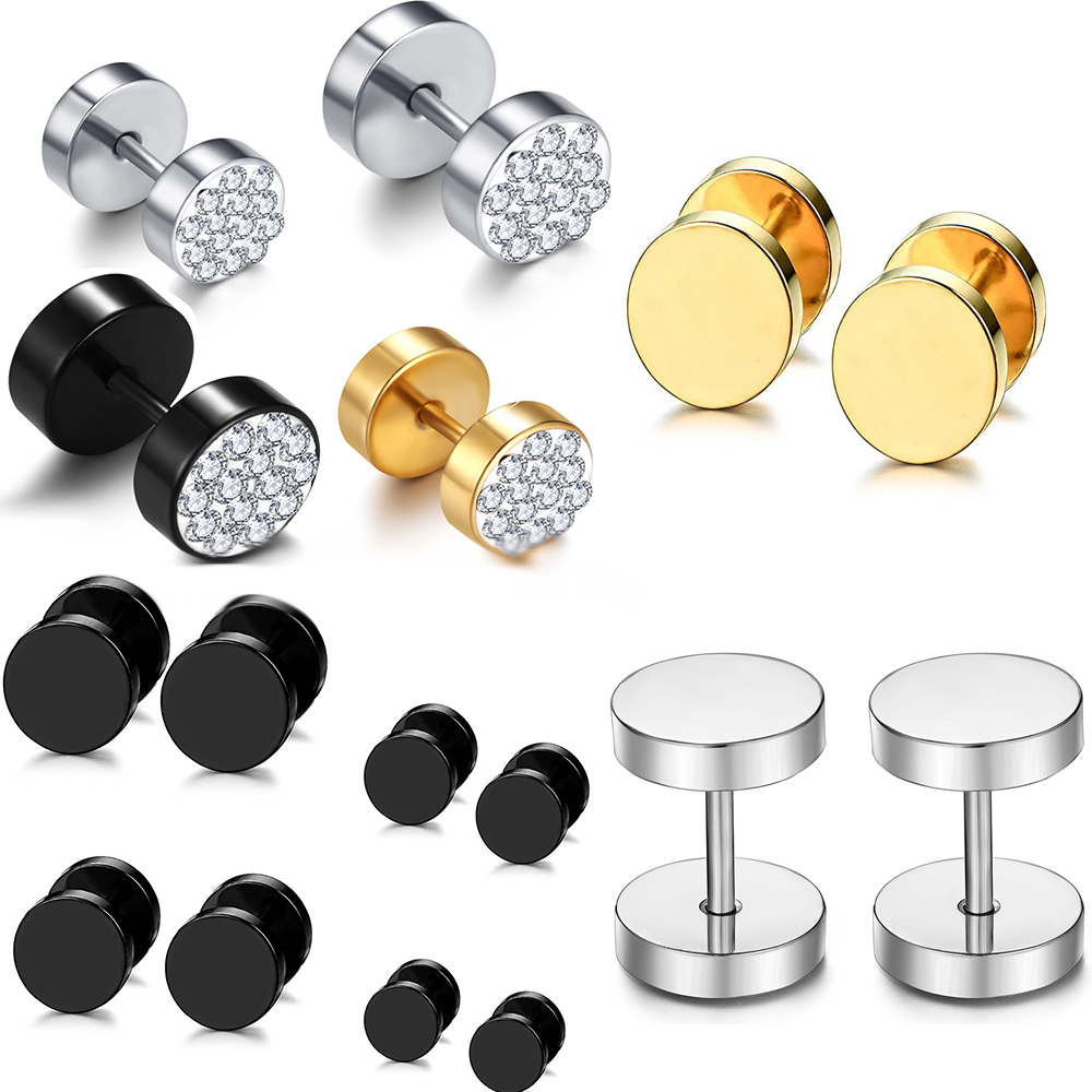 JUNLOWPY Surgical Steel 16g Mens <font><b>Fake</b></font> Plugs Cheater Faux <font><b>Ear</b></font> Illusion <font><b>Tunnel</b></font> Gauge Earring Stud Stretcher Body Piercing Jewelry image