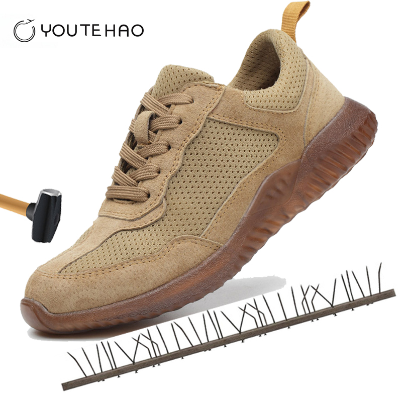 Summer Safety Protection Protector Boots Leather Steel Toe Shoes Breathable Deodorant Non-slip Work Shoes