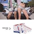 Novo 2016 pink hero marca cotton moda sexy estrela listras mens calções de impressão casais boxer underwear comfy shorts masculino calcinhas