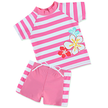 2018 Striped Retailed Short Sleeve New Girl UV UPF SPF 50+ Sun Block Protection Suit 2-6Y Swimming Swimwear Costume Tops+Shorts