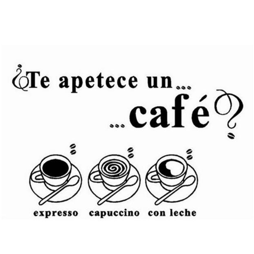 Creative Kitchen Wall Window Decoration Te Apetece Un Cafe Spanish Language Vinyl Wall Decals Stickers for Dining Room