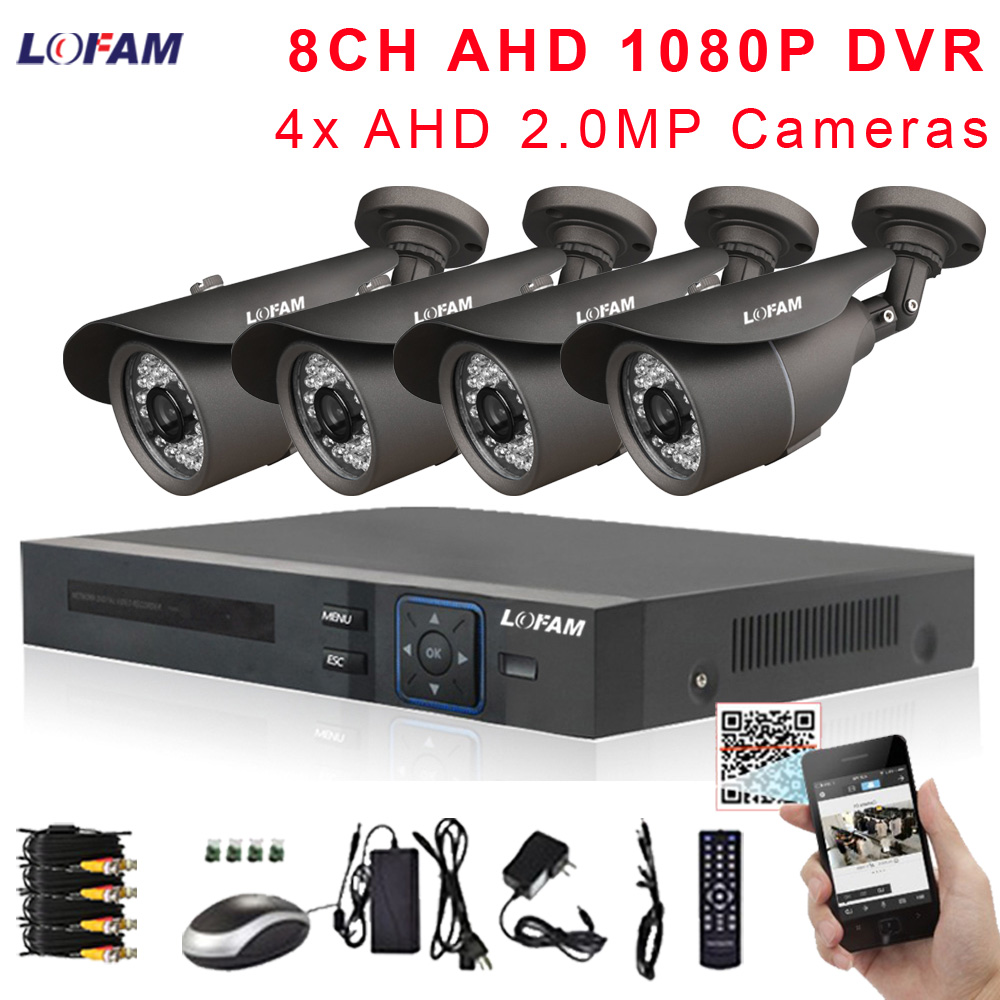 LOFAM 2MP Video Surveillance CCTV System 8CH AHD 1080P DVR Kit 4 X AHD 1080P 2