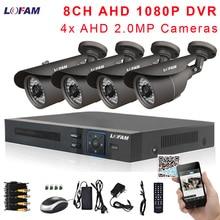 Sistema De Vídeo Vigilância CCTV 8CH 2MP LOFAM 4 X AHD AHD 1080P Kit DVR 1080P 2.0MP Ao Ar Livre À Prova D Água sistema de Câmera de segurança 8CH
