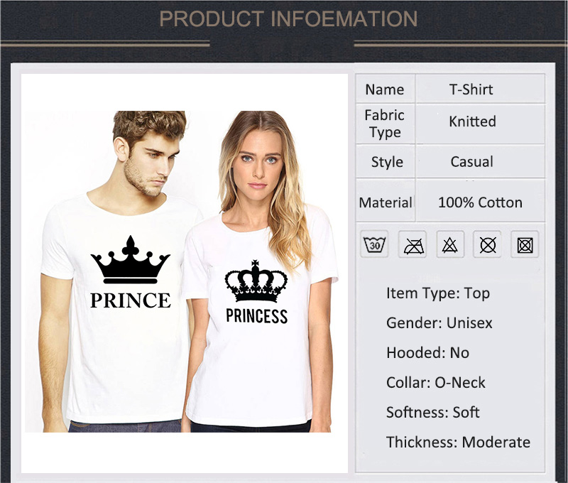 Casual O-neck Tops Lovers Prince Princess Print Couple T Shirt