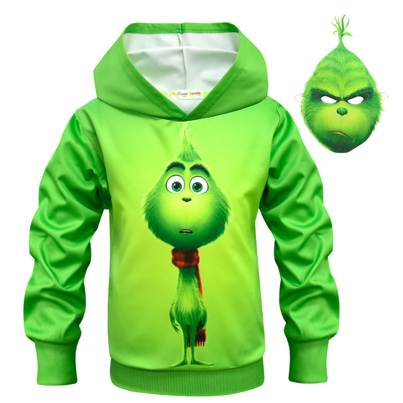 Children's Anime Cosplay Costume Boy Zipper Hoodie Grinch Cosplay Sportswear Autumn And Winter Cartoon Green Shirt + Mask