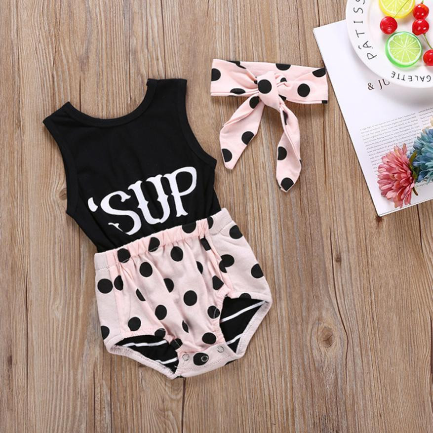 MUQGEW Childrens clothes Infant BabyGirls Letter Print Round Dot Romper +Headbands Jumpsuit Outfits Set Kids clothing