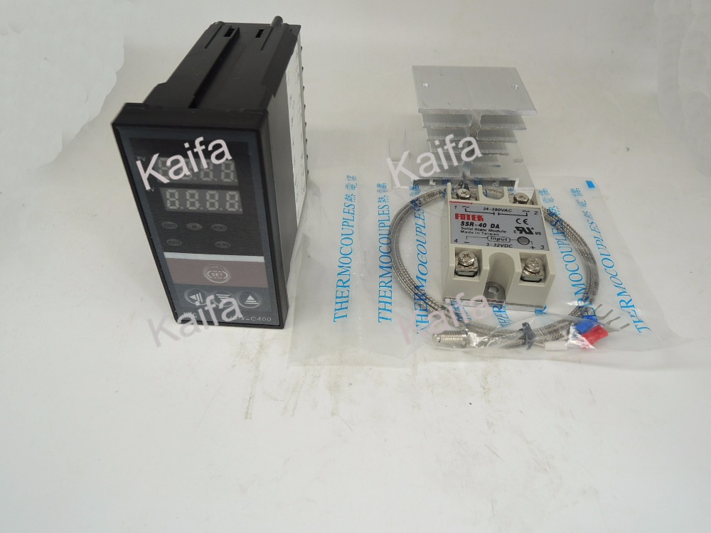 ,Digital PID Temperature Controller Thermostat REX-C400  + 1M K Thermocouple Probe+SSR 40DA+ Radiator ,100V~240V AC set of pid digital temperature thermostat regulator controller rex c100 with ssr output thermocouple k solid state relay ssr 40a