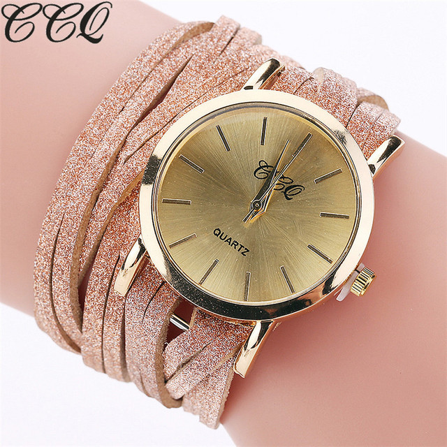 2017 CCQ Fashion Luxury Women Bracelet Watch Ladies Quartz Watch Casual Leather