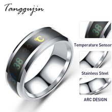 Tanggujin Ring For Men Stainless Steel Intelligent Temperature Sensing Couple Rings Women Lovers Wedding Band Jewelry