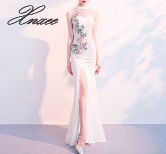 White dress female 2019 new banquet elegant elegant sexy collar long fishtail cheongsam dress