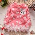 Free shipping Autumn New baby girl dot rabbit cardigan jacket,girl cardigan coat,children jacket#Z1206