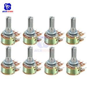 10 Pçs/lote Potenciômetro Resistor 20 10 5 2 1K K K K K K 100K 250K 500K Ohm 1MΩ 50 6 Pinos Linear Taper Rotary Potenciômetro para Arduino