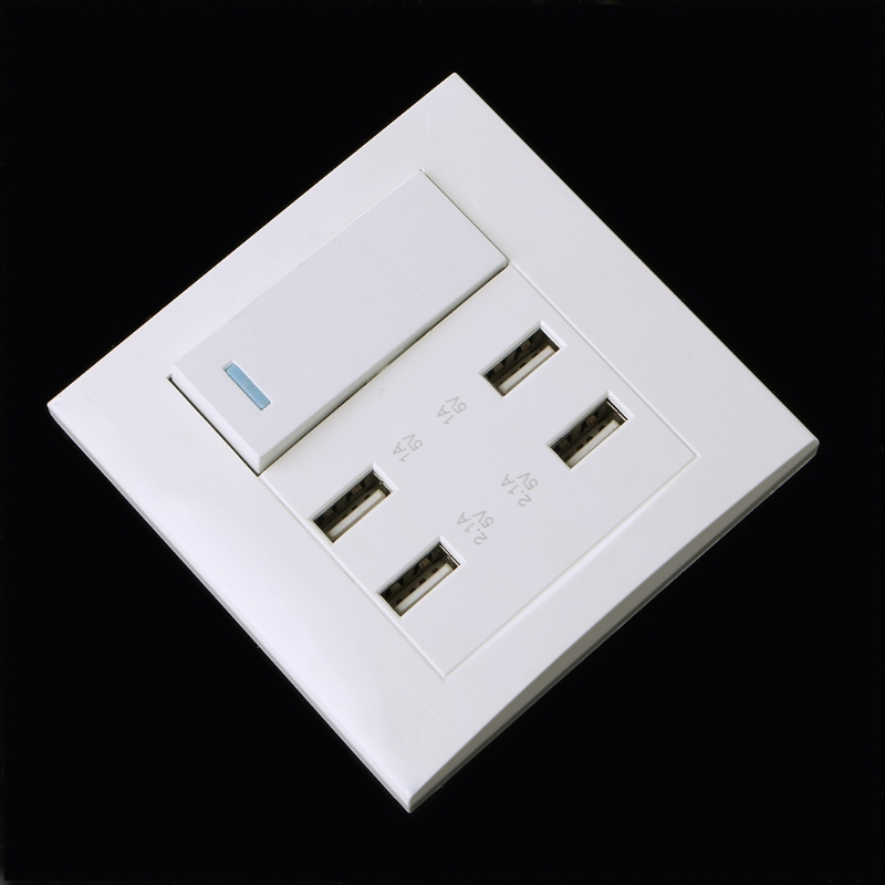 220V 10A Wall Switch Socket 4 Port USB Charger Power Outlet Adapter Panel L15