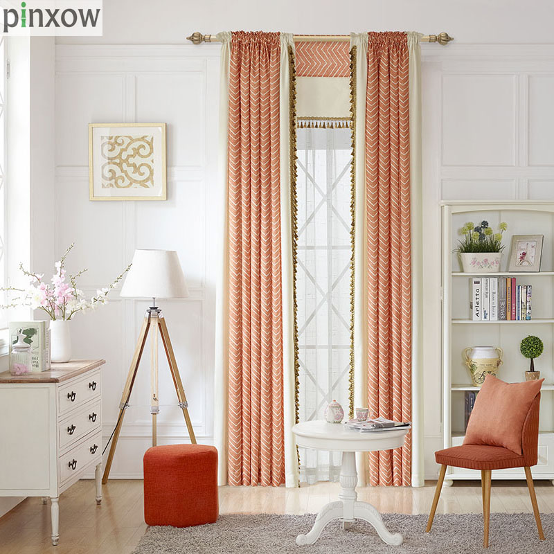 Striped Printed Curtains Bedroom Ready Made Window Panel Curtains Living Room Modern Fabric Drapes Orange Luxury Custom Blinds