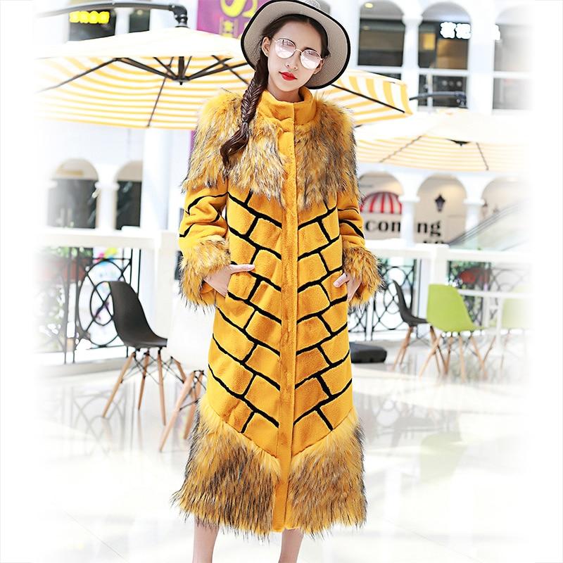 Nerazzurri Qadınlar əlavə uzun faux xəz palto sarı və qara - Qadın geyimi - Fotoqrafiya 3