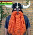 Handmade yarn oversized horn hat Viking personality tyranids cap with Ox horn and beard Novelty