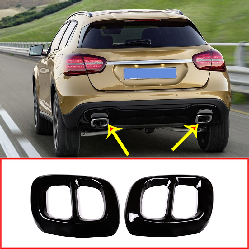 Stainless Steel Exhaust Output Tail Cover Trim <font><b>Accessories</b></font> For Mercedes Benz GLA Class X156 Car For <font><b>Infiniti</b></font> <font><b>Q30</b></font> QX30 2015-2019 image