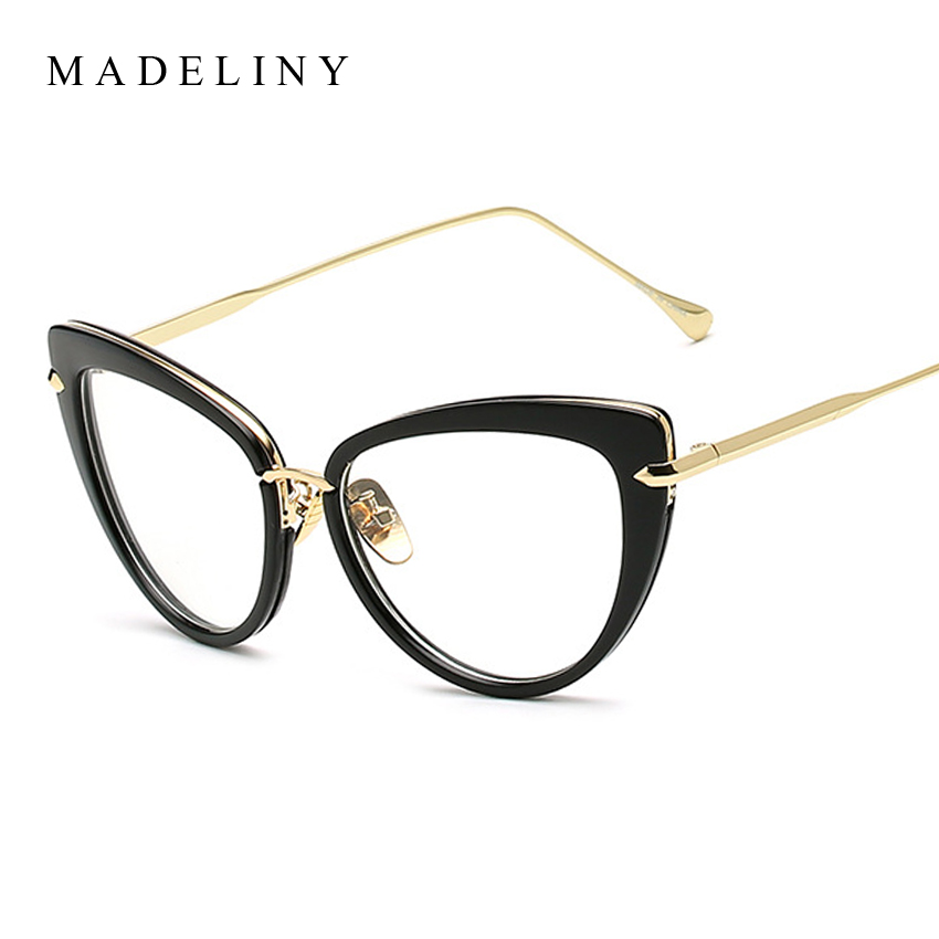 madeliny fashion new women eyeglasses frame classic brand designer luxury cat eye glasses trendy lunettes uv400
