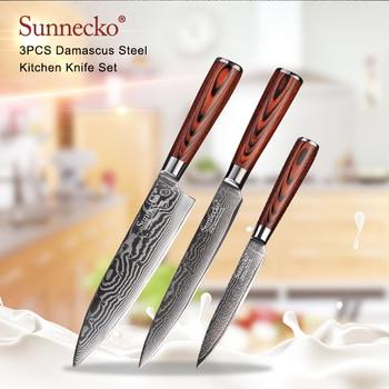 SUNNECKO 3PCS Kitchen Knives Set Utility Slicing Chef Knife Damascus Japanese VG10 Steel Knife Pakka Wood Handle Damascus Cutter