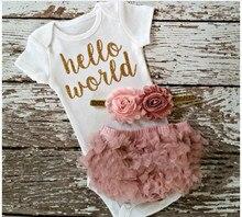 2017 Newborn Baby Bodysuit HELLO WORLD Tiny Cottons White Short Sleeve Jumpsuit Clothes Baby Onesie Pink Lace Shorts 2pcs Sets