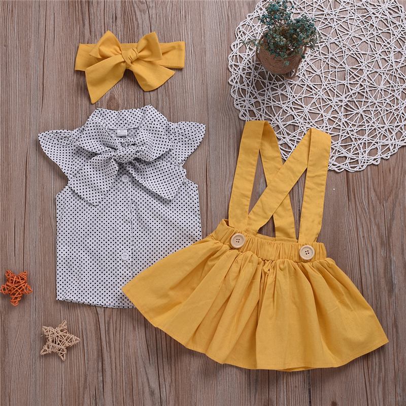 19114941355cb 2019 baby girl clothes summer infant baby girls clothes sets dot sleeveless  tops+skirt+headband toddler girls clothes sets 3pcs