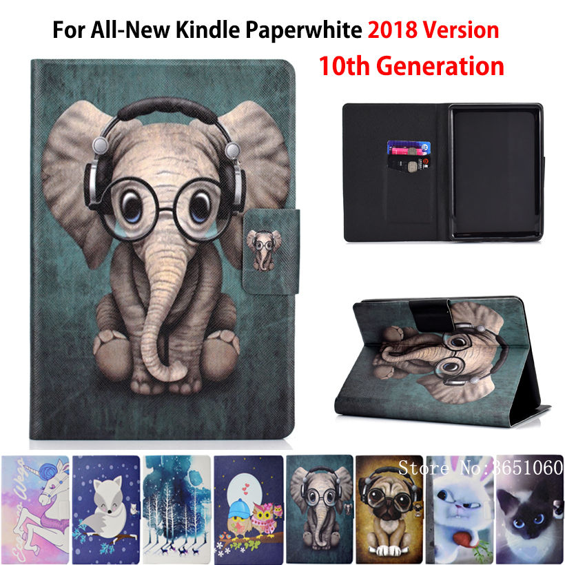 Case For Amazon New Kindle Paperwhite 2018 Released Cover Funda For Kindle Paperwhite 4 10th Generation Fashion Animal Shell
