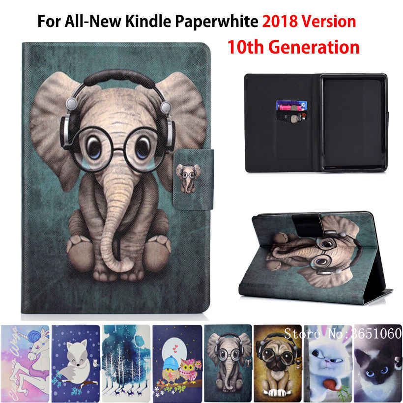 Pokrowiec na nowy Kindle amazon Paperwhite 2018 wydany pokrowiec Funda na Kindle Paperwhite 4 10th Generation Fashion Animal Shell