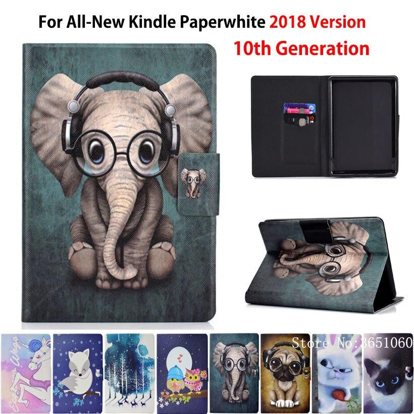 Caso Para Amazon Kindle Paperwhite Novo 2018 Funda Tampa liberado para Kindle Paperwhite 4 10th Geração Moda Shell Animais