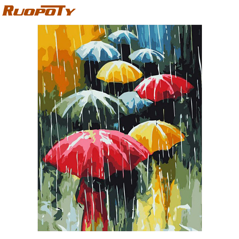 RUOPOTY Frame Umbrella Rain DIY Oil Painting By Number Landscape Handpainted Acrylic Paint On Canvas Unique Gift For Home Decor
